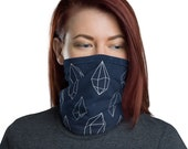 Crystal Grid (Midnight) - Washable Cloth Face Covering / Neck Gaiter / Face Mask in Navy Blue for Men & Women