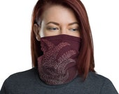 Breathe (Wine) - Washable Cloth Face Covering / Neck Gaiter / Face Mask in Burgundy Red for Men & Women