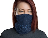 Trinity Grid (Midnight) - Washable Cloth Face Covering / Neck Gaiter / Face Mask in Navy Blue for Men & Women
