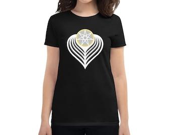 Winged Angel Heart (light) - Sacred Geometry Heptagram Shirt for Women