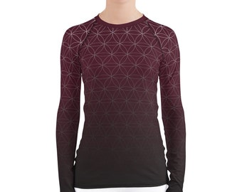 Fading Flower of Life (Wine) - Sacred Geometry Long-Sleeve Shirt in Burgundy Red for Women