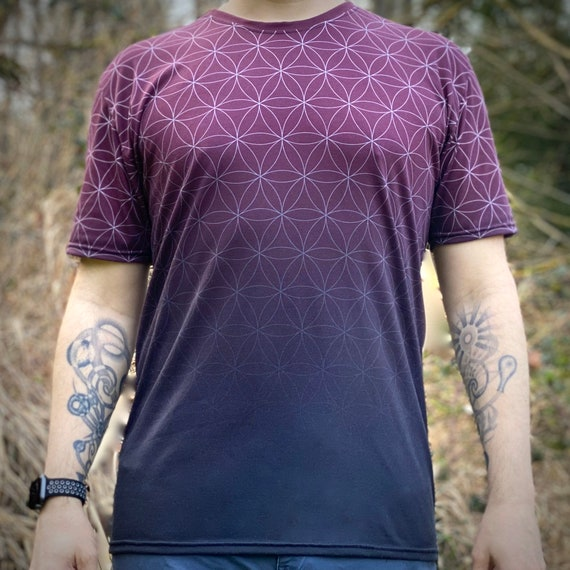 Fading Flower of Life (Wine) - Sacred Geometry Shirt in Burgundy Red for Men