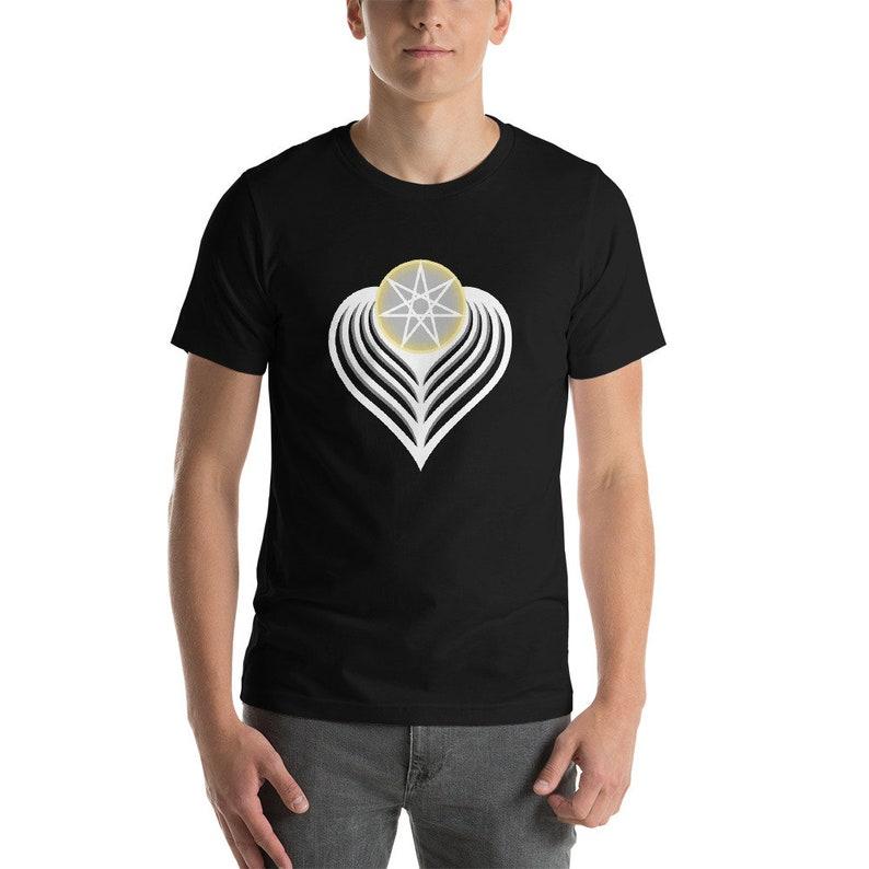 Winged Angel Heart light  Sacred Geometry Heptagram Shirt Black