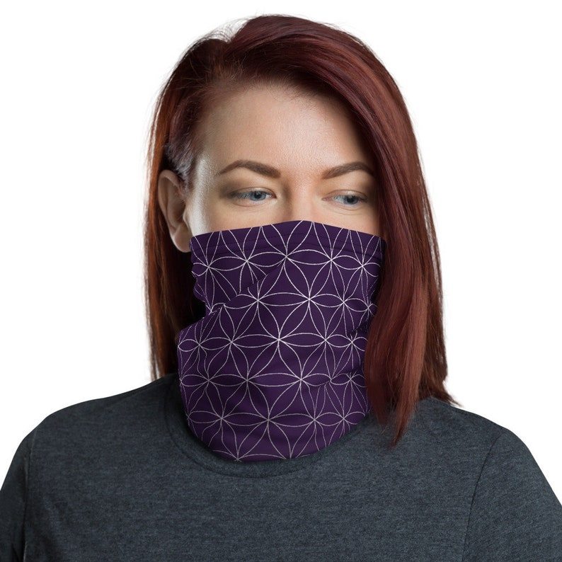Flower of Life Violet  Washable Cloth Face Covering / Neck image 0