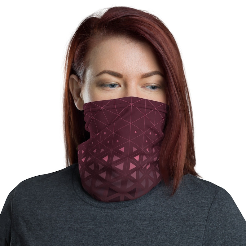 Trinity Grid Wine  Washable Cloth Face Covering / Neck image 0