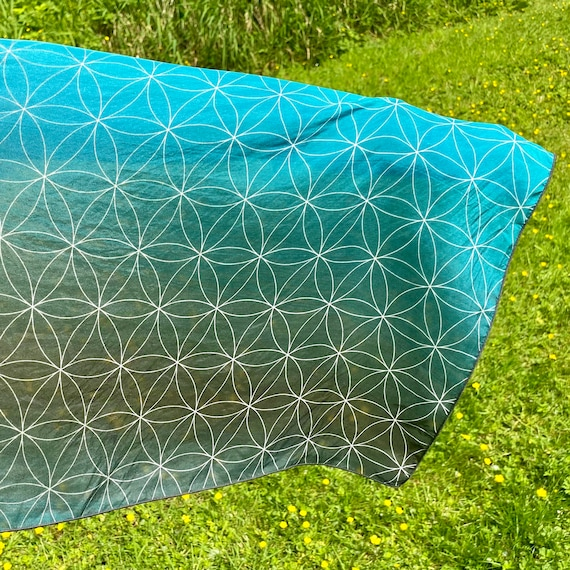 Flower of Life (Teal) Long Scarf in Teal Blue - 2 Sizes and 4 Textures