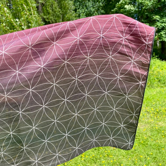 Flower of Life (Wine) Long Scarf in Burgundy Red - 2 Sizes and 4 Textures