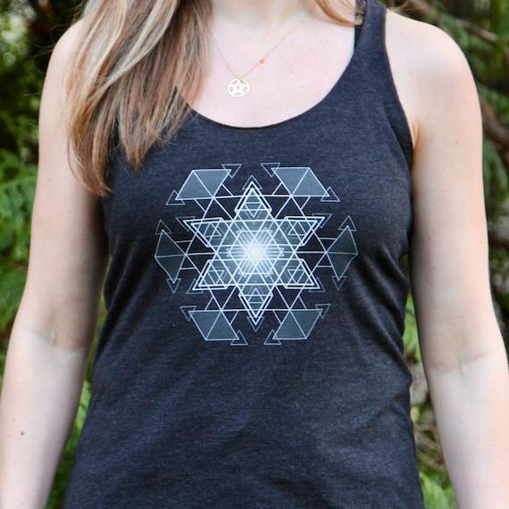 HyperHexagram Mandala - Sacred Geometry Kabbalah Racerback Tank for Women