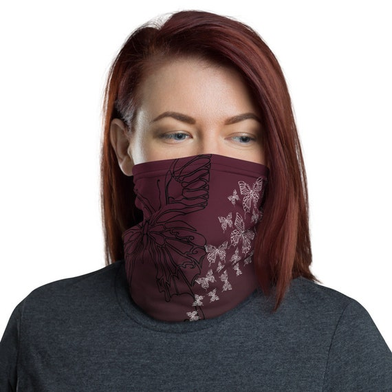 Transform (Wine) - Washable Cloth Face Covering / Neck Gaiter / Face Mask in Burgundy Red for Men & Women