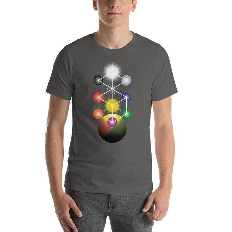 Kabbalah Adytum  Tree of Life Sacred Geometry Shirt for Men Asphalt