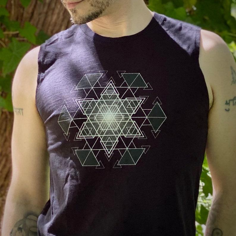 HyperHexagram Mandala  Sacred Geometry Kabbalah Muscle Shirt image 0