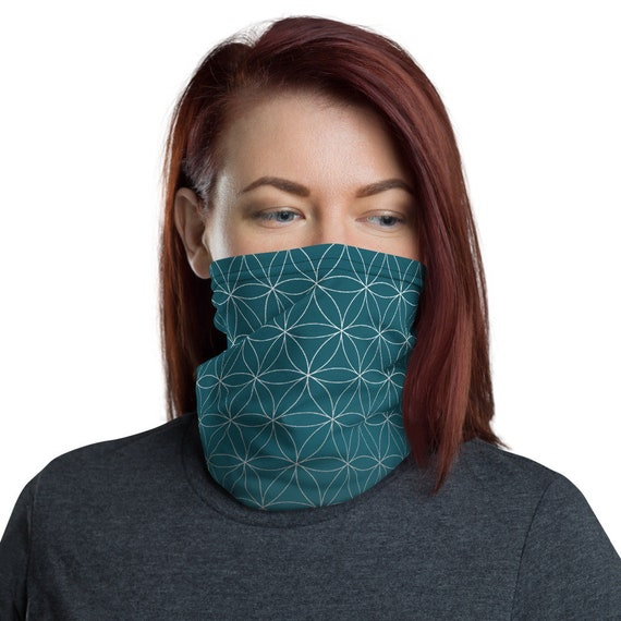 Flower of Life (Teal) - Washable Cloth Face Covering / Neck Gaiter / Face Mask in Teal Blue for Men & Women
