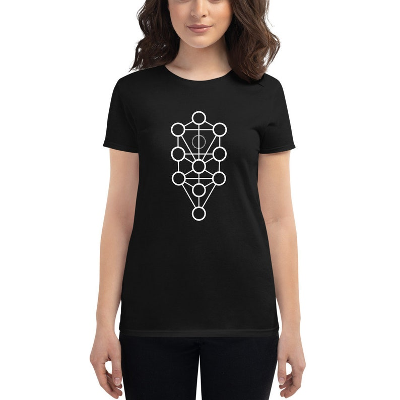 Tree of Life  Sacred Geometry Kabbalah Shirt for Women Black