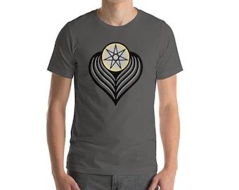 Winged Angel Heart (dark) - Sacred Geometry Heptagram Shirt for Men