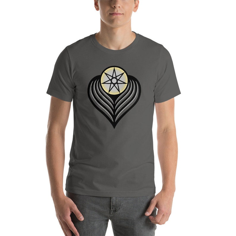 Winged Angel Heart dark  Sacred Geometry Heptagram Shirt image 0