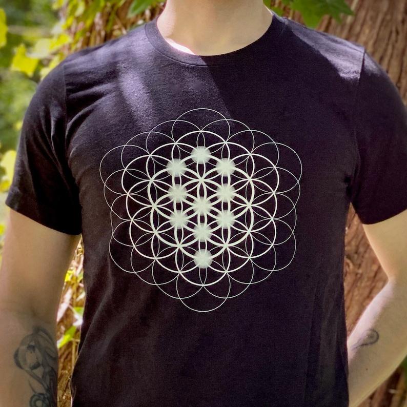 Seed Flower & Tree of Life  Sacred Geometry Kabbalah Shirt image 0