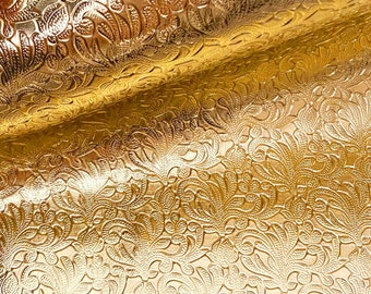 """NEW! Metallic Gold Leather - Embossed Floral Leather -  8""""x12"""" Genuine Leather Sheet - 1.1/1.3MM"""
