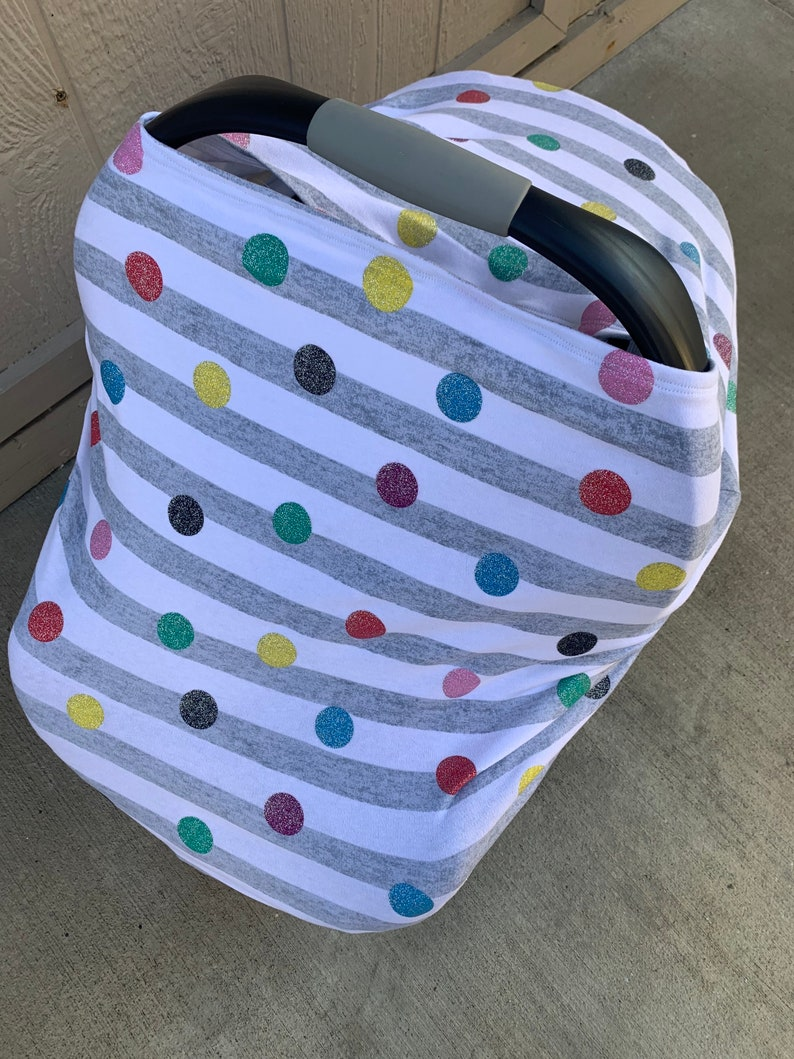 rainbow dots and stripes Baby Car Seat Cover carrier cover baby shower gift stretchy nursing cover stretchy car seat cover