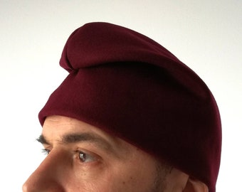 Re-enactment MEDIEVAL REPLICA RED VELVET HAT LINED CAP BONNET COIF LARP
