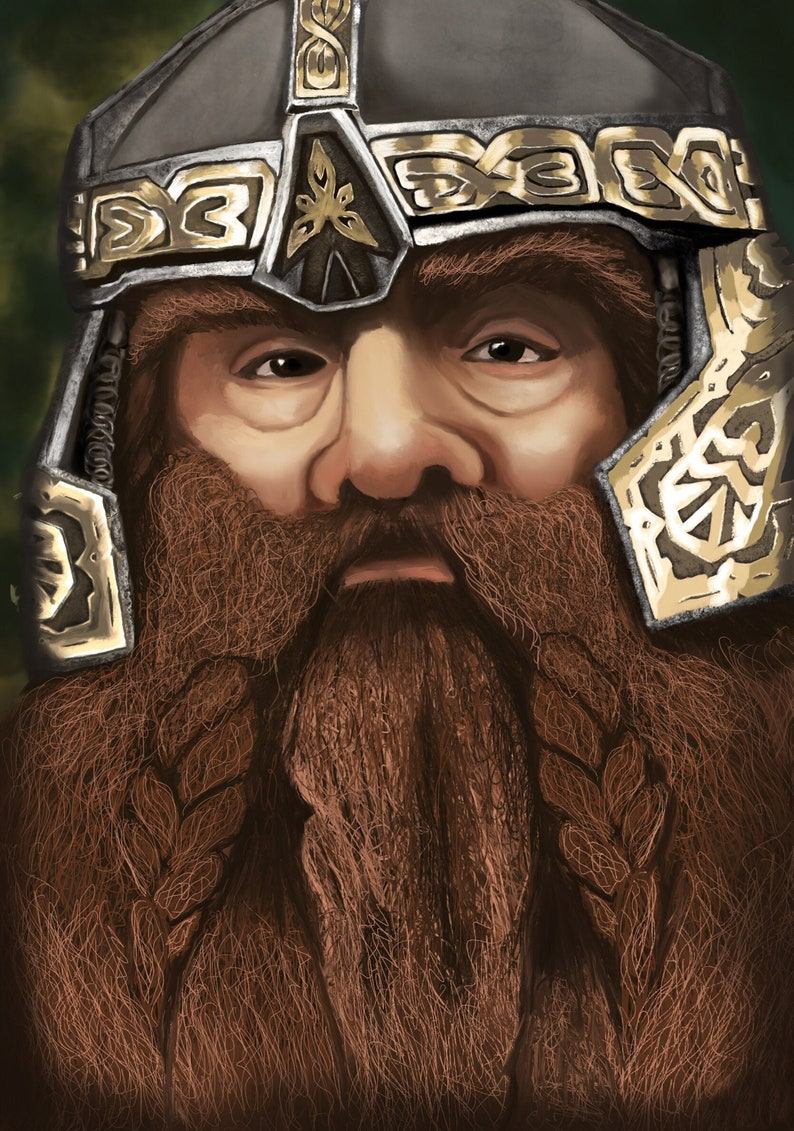 oil painting Handmade painting Lord of the Rings oil canvas Gimli portrait wall art dwarf LOTR fan art Lord of the Glittering Caves