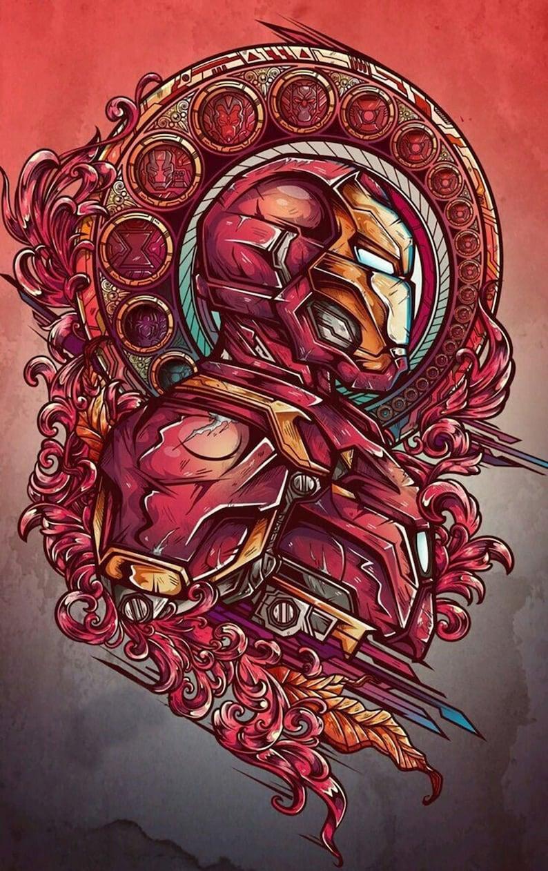 Iron Man portrait stylized 4 wallart artwork painted on canvas by hand art Oil painting \u2219 Handmade painting \u2219 Handcraft wall decor Marvel