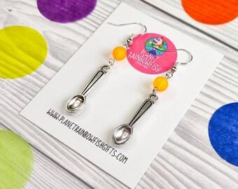 Spoonie Earrings   Spoons Earrings   Orange Ribbon   Multiple Sclerosis   MS  COPD   ADHD   Awareness Earrings