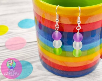 GenderQueer Earrings   8mm Frosted Glass Beads   LGBTQ Accessories   LGBTQ Earrings   GenderQueer Pride Gifts