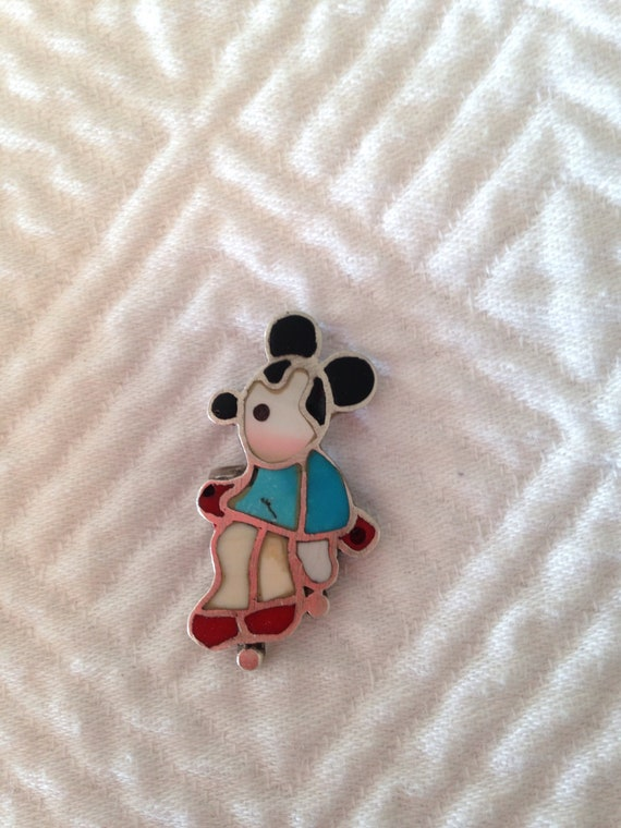 Mickey Mouse Zuni Inlaid Silver and Stone Ring - N
