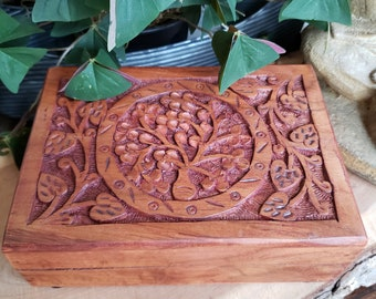 Box Wooden Carved Tree Of Life 5x3 Inch