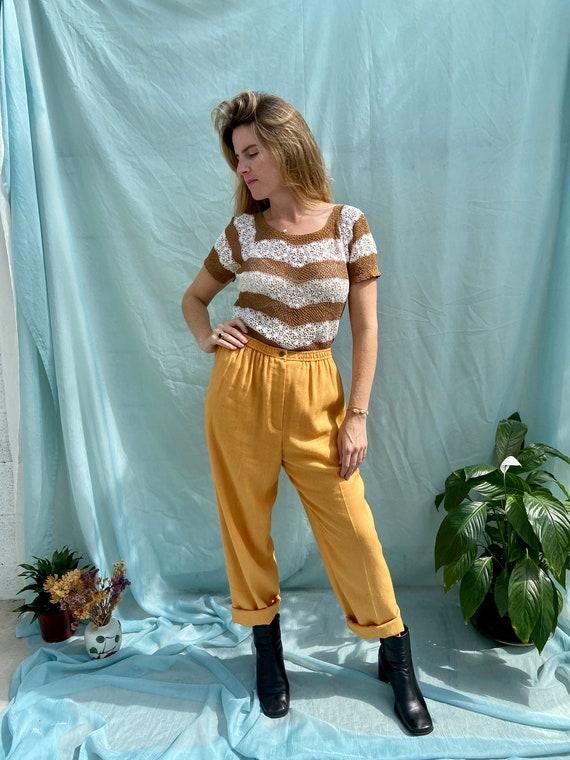 80s Light Orange Linen Blend Pants