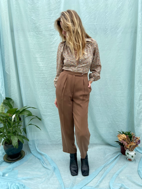 80s Brown Silk Trousers