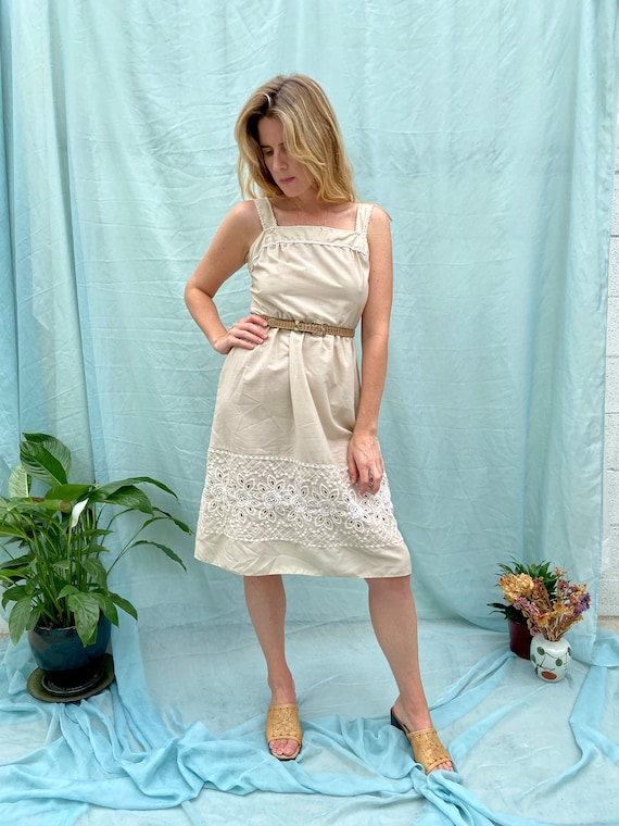 70s Eyelet Embroidered Dress