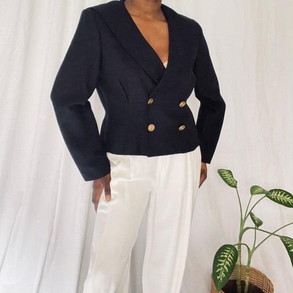 Vintage Sailor Collar Double Breasted Boxy blazer