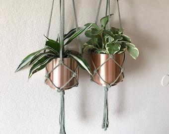 Macrame Plant Hanger   Modern Indoor Hanging Planter   Handmade Eco-Friendly Plant Holder