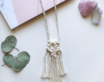 Boho Minimalist Necklace   Handmade Macrame Cotton Rope Necklace   Artisanal Hand Crafted Jewelry   100% Natural Cotton