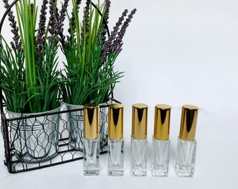 5 ml Clear Glass Deluxe Square Bottle (heavy bottom) with Shiny Gold Fine Mist Spray Pump