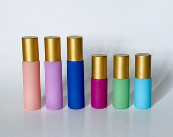 10ml & 5ml Matte Colored Gemstone Roll-On Bottles With Matte Gold Caps