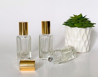 7.5 ml Deluxe Beveled-Square Clear Glass Roll-on Bottle (heavy vase) with Stainless Steel Mini Roller and Shiny Gold Cap