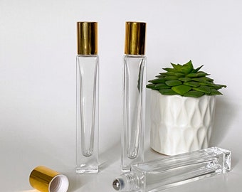 10ml Deluxe Square Glass Roll-on Bottle with Heavy Base, Stainless Steel Roller, Shiny Gold Cap