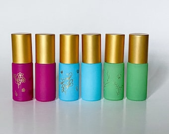 5ml Matte Colored Gemstone Roll-On Bottles with Matte Gold Caps
