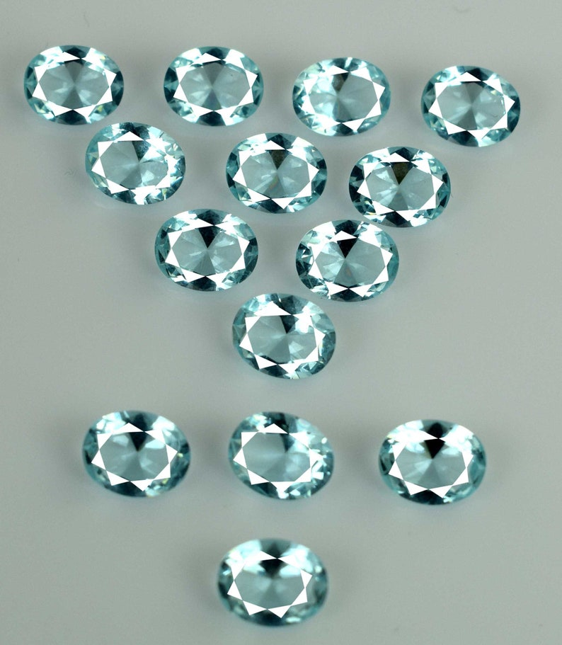 100 /% Natural 28.55 Ct Aquamarine Jewelry Making Gemstone Lot 14 Pcs Oval Cut AGI Certified