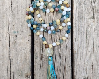 Rainbow Jasper Mala with Lotus Blossom and Copper Silk Tassel