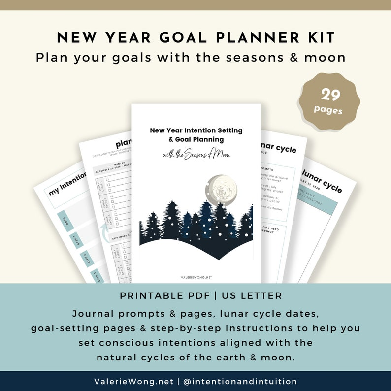 New Year Goal Planner Intention and Goal Setting Planner image 0