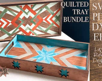 Quilted Tray Laser SVG Files Wood Quilt for Glowforge - Barn quilt SVG - diamond and star designs - Welcome Home Custom