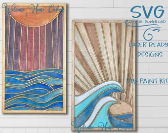 Ocean SVG Laser cut Files  - Sea at Day - Sea at night - Wood Quilt SVG - DIY paint kit for make and take party - Welcome Home Custom