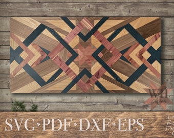 3 Diamond Barn Quilt SVG Laser cut files - Glowforge projects - Laser Ready - fits in 20 x 12 inch lasers - Cut by color design