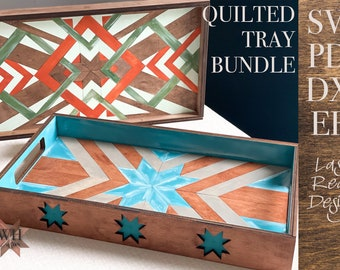 DIY Wood Quilt Tray Bundle Digital Download for Laser cutters - Farmhouse Home Decor - SVG PDF - Fits in a Glowforge works in most lasers