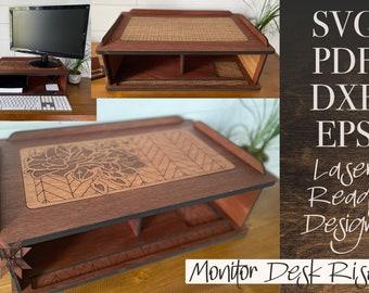 Monitor Riser Laser Cut File - Digital SVG PDF DXF - Home Organization - Chevron Floral or Basketweave - Moody Floral Decor