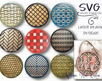 Patterns SVG PDF Laser Cut File Bundle - herringbone, buffalo plaid, star, chevron, basketweave, honeycomb, boho -  Great for Monogram signs