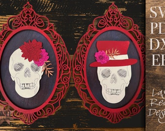 Spooky Framed Skulls Laser cut files BUNDLE - for Glowforge and other laser cutters - ornate frames, Posy and Ash skulls - halloween decor